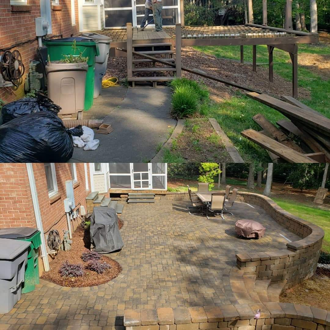 Carolina Greenscapes before and after stone patio